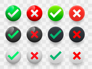 Tick and cross signs 3d green and red colors glossy and matte style on a transparent background. Vector illustration EPS10
