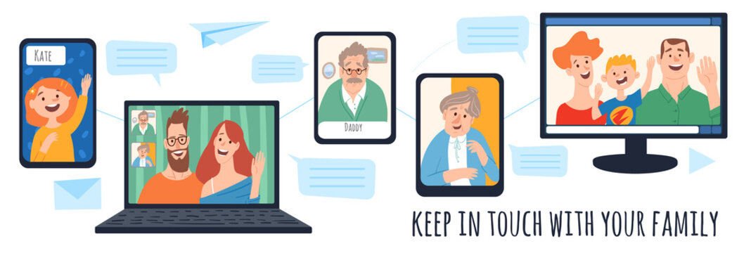 Keep people in safe home isolation vector image with family characters