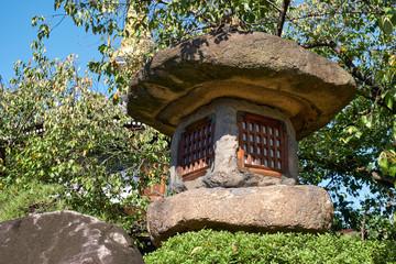 Nazura-doro japanese stone lantern in the Isshin-ji Temple. Osaka. Japan