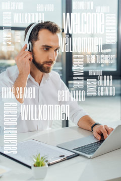 professional translator working online with headphones and laptop, welcome translation illustration