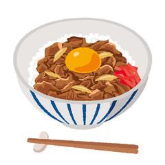 卵を乗せた牛丼のイラスト