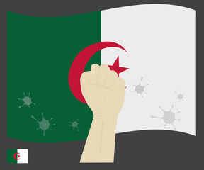 Fist power hand with novel coronavirus or COVID-19 virus stained on the Algeria National Flag, Fight for Algerian people concept, sign symbol background, vector illustration.
