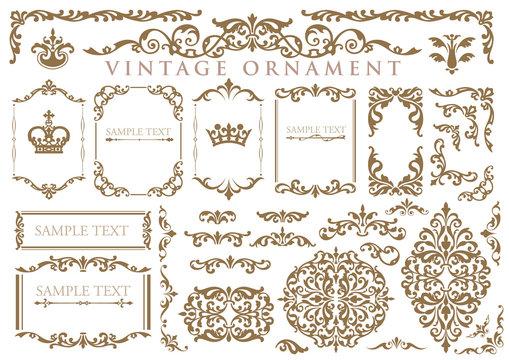 vintage ornament set. floral frames and borders.