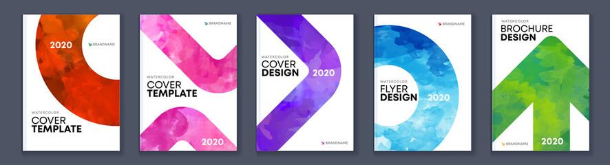 Watercolor A4 booklet colorful cover bundle set