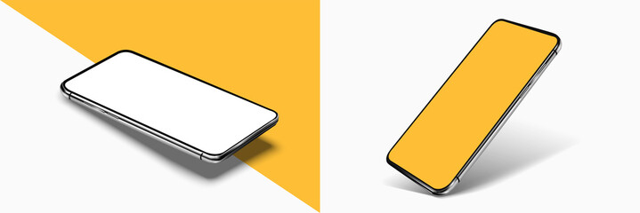 Smartphone frame less blank screen mockup, rotated position. 3d isometric illustration cell phone. Smartphone perspective view. Template for infographics or presentation UI/UX design interface. vector Papier Peint