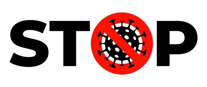 Stop coronavirus. Crossed out icon of coronavirus infection COVID-19. Vector