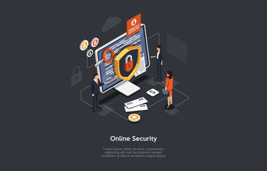Isometric Online Security And Data Protection Concept. Developers Are Creating Protection Of Malware For Customer. Cloud Computing Online Database Technology Computer Security. Vector Illustration Wall mural