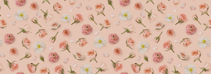 Vintage Floral pattern made of beige flowers and rosebuds. Valentines background. Warm flower background. Warm peach pattern of flowers. Flat lay, top view. Happy Mothers Day.