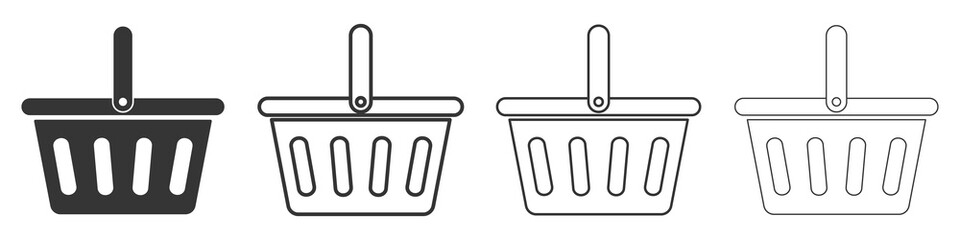 Set of shopping basket icons. Vector illustration.