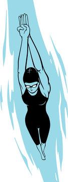 Active Female Swimmer Dive Underwater