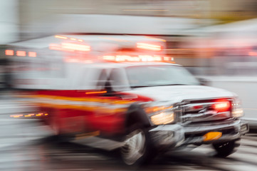 High-speed ambulance on a New York City street