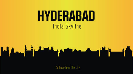Hyderabad India city silhouette and yellow background. Hyderabad India Skyline. Fototapete