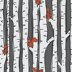 Écureuils dans le modèle sans couture d& 39 arbres de bouleau sur le fond bleu. Seamless, répéter la conception de modèle de surface d& 39 illustration vectorielle