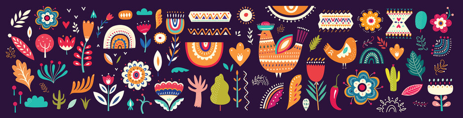 Fototapete - Beautiful colorful cartoon floral collection with leaves, flowers, tree and birds. Mexican ethnic pattern