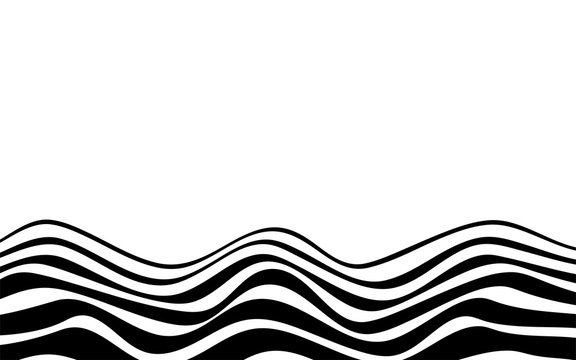 Black lines zigzag wave on bottom abstract white background vector flat design illustration.