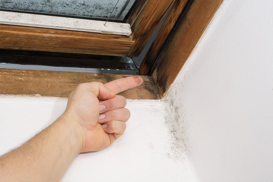 traces of moisture on the finger, taken from the window pane, bad ventilation and thermal insulation