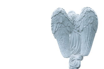 Fotomurales - Antique stone statue of beautiful angel isolated on white background. View from behind.