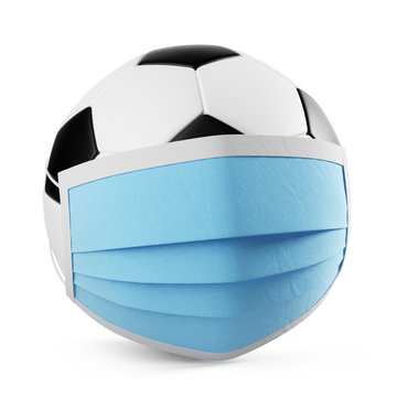 Soccer Ball with a medical mask isolated on white background. Clipping path included. 3d illustration