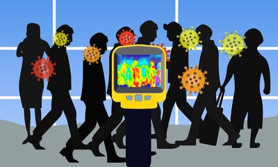 Illustration vector graphic of checking people who come from China with infrared thermal imaging camera and corona virus symbol on blue background. stop virus outbreak concept. vector EPS10