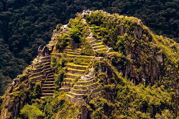 Peru, Eastern Cordillera, Cusco region. Huayna Picchu (the top) raised above the Sanctuary of Machu Picchu