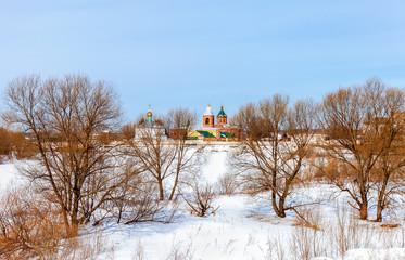 Holy Spirit Monastery in winter day in Borovichi, Russia