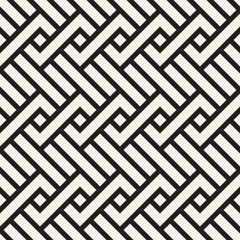 Vector seamless pattern. Decorative geometric interlaced lines. Monochrome bold stripes background.