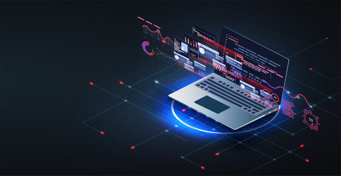Application of laptop with business graph and analytics data on isometric laptop .Digital money market, investment, finance and trading. Perfect for web design, banner, presentation. Isometric vector