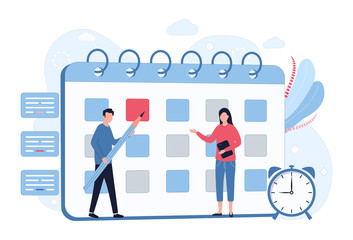 Business Planning Concept. Scheduling, time management, setting priority tasks. A man with a pencil makes notes on the calendar, a woman with a tablet. Flat vector illustration isolated on white back