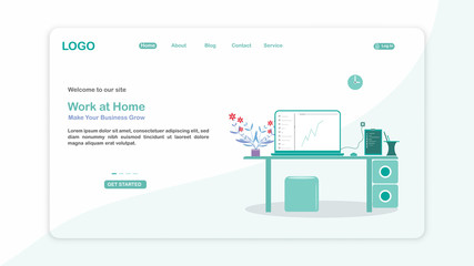 Landing page template of Work at home. Modern flat design concept of web page design for website and mobile website