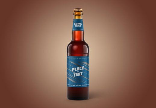 Classic Front View Beer Bottle Mockup