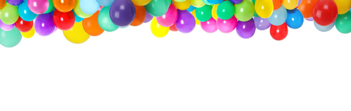 Set of different color balloons on white background. Banner design