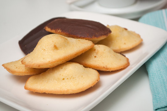 Closeup of french chocolate madeleines on white background