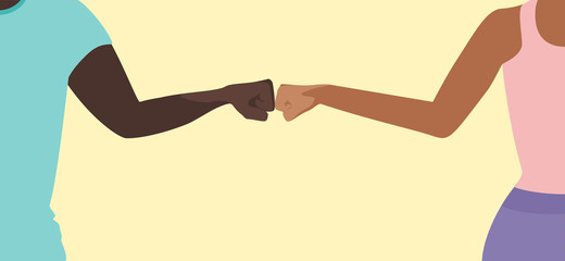 Fist bump greeting concept vector of a man and a woman with copy space for COVID-19 coronavirus prevention