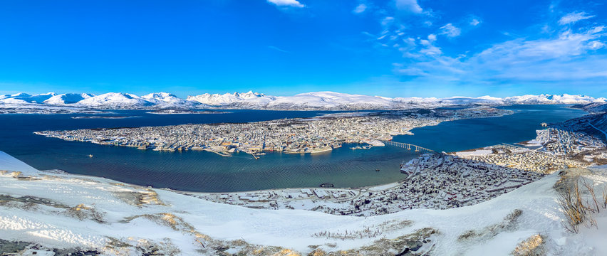 Tromsø, Troms og Finnmark / Norway -March 4th, 2020: Panoramic view of the city from Fjellheisen (Tromso Cable Car)
