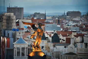 Wall Mural - Madrid rooftop view with angel statue