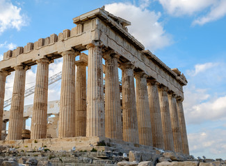 Foto auf AluDibond Historisches Gebaude Ruins of Parthenon on the Acropolis - 447 BC - in Athens, Greece