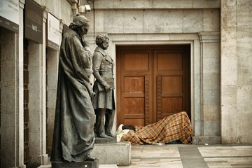 Wall Mural - Sculpture and homeless