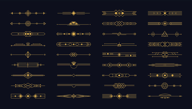 Set of art deco gold page dividers.Vintage header and border template in style of 1920s. Calligraphic flourishes page decoration vignettes for your design