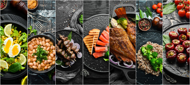 Set of photo dishes. Set of food cuisines of peoples of the world. Dishes and snacks on black stone background.