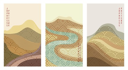 Wall Murals Beige Geometric oriental landscape set