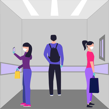 Keep safe distance. Man and women in medecine mask, protective gloves ride the elevator, they stand with their backs to each other at maximum distance. Concept for coronaviruses pandemic, quarantine