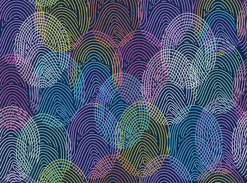 Diverse fingerprint concept, data security metaphor. Vector.