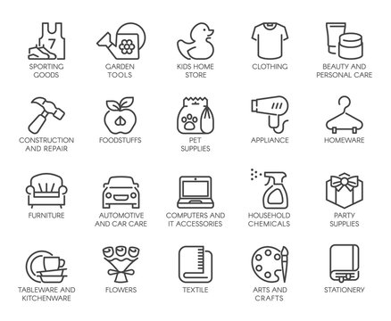 Department Store Shop Category Outline Icons Set