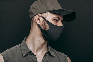 portrait of a man in black mask Wall mural