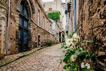 Empty street in city of Angers, France in the Loire Valley