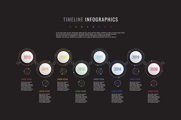 horizontal timeline infographic with white round elements, year indicators and textboxes on a black background. realistic 3d paper cut design. modern vector company presentation slide template