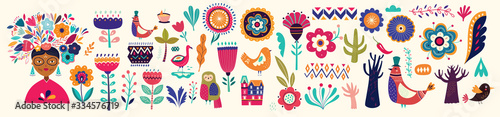 Fototapete Beautiful colorful cartoon floral collection with leaves, flowers, tree and birds. Mexican ethnic pattern