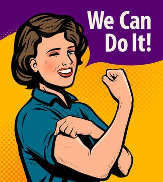 We Can Do It, retro poster. Retro comic pop art vector illustration