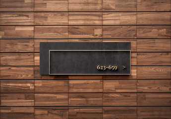 Gold & Stone Sign Logo Mockup on Wooden Wall
