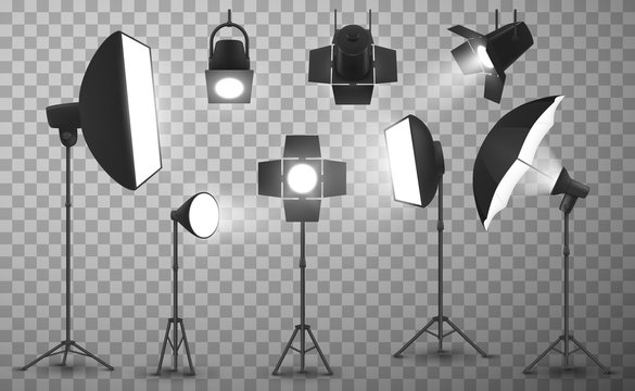 Light equipment of photo studio on transparent background, realistic vector design. 3d spotlights, tripod stands with softbox, stripbox and umbrella, flash lamps and stage barndoors